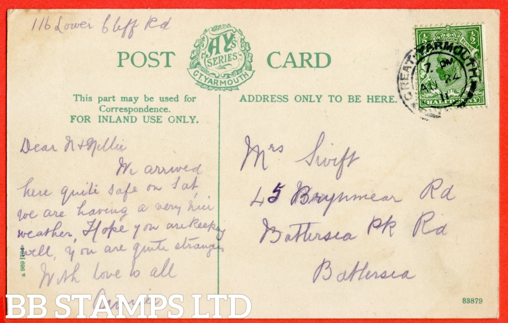 "SG. 322a. N1 (1) b. ½d Green. Perf "" 14 "". A very fine "" 24th August 1911 GREAT YARMOUTH "" CDS used example of this RARE and very underrated George V Downey perforation variety complete on postcard."