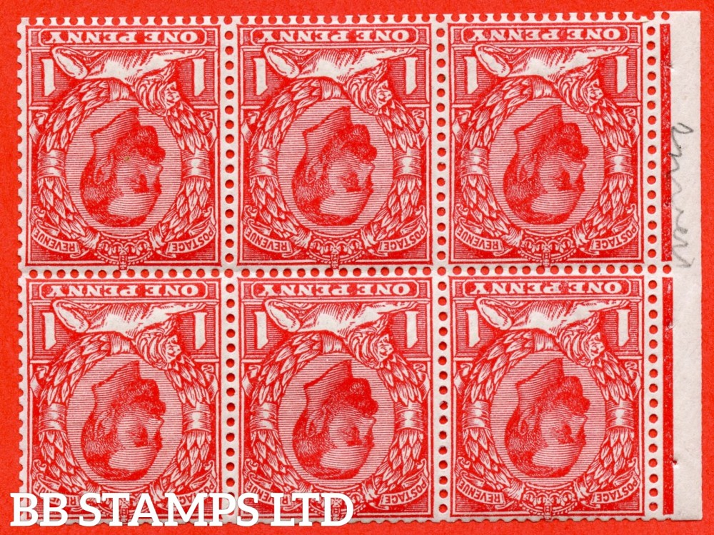 SG. 336 aw. 336 wi. N10 (1) b. NB5a. 1d scarlet. Die 1B. INVERTED WATERMARK. A fine UNMOUNTED MINT complete booklet pane. Perf type ' E '.