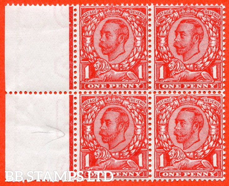 SG. 345 a. Variety N12 (2) e. 1d Bright Scarlet. NO CROSS ON CROWN. A very fine UNMOUNTED MINT left hand marginal block of 4 with the bottom two stamps clearly showing the error.