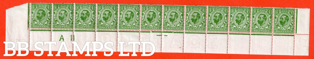 "SG. 325. N2 (1). ½d bright green. Die 1B. A fine lightly mounted mint control "" A11 ' close ' perf "" complete bottom row from plate 6. Perf type 1A."
