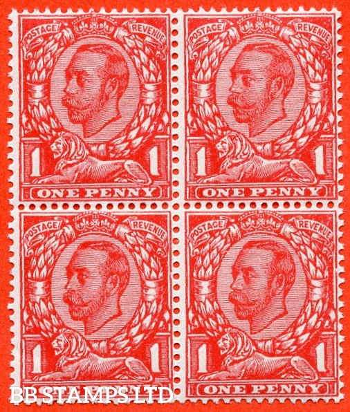 SG. 345 a. Variety N12 (2) e. 1d Bright Scarlet. NO CROSS ON CROWN. A very fine UNMOUNTED MINT block of 4 with the bottom left hand stamp clearly showing the error.