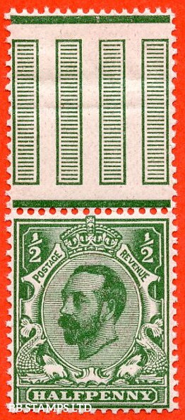 SG. 323. N1 (4) ½d Bluish Green. A super UNMOUNTED MINT top marginal example of this scarcer Downey shade complete with RPS certificate.