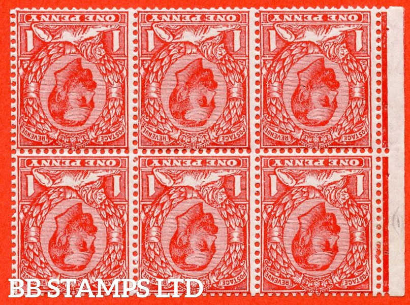 "SG. 337 wi. N10 (3) bf. NB5a ab. 1d bright scarlet. INVERTED WATERMARK. A fine mounted mint complete booklet pane with the listed variety "" White flaw above right value ( row 2/1 of booklet pane NB5a ) "". Perf type ' E '."