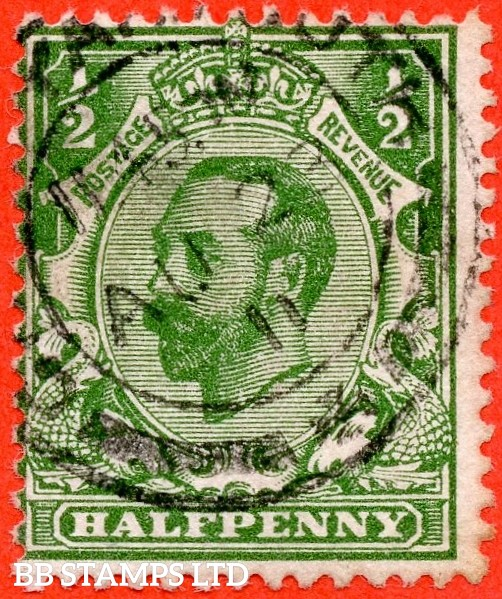 "SG. 322a. N1 (1) b. ½d Green. Perf "" 14 "". A very fine "" 23rd August 1911 GREAT YARMOUTH "" CDS used example of this RARE and very underrated George V Downey head perforation variety."