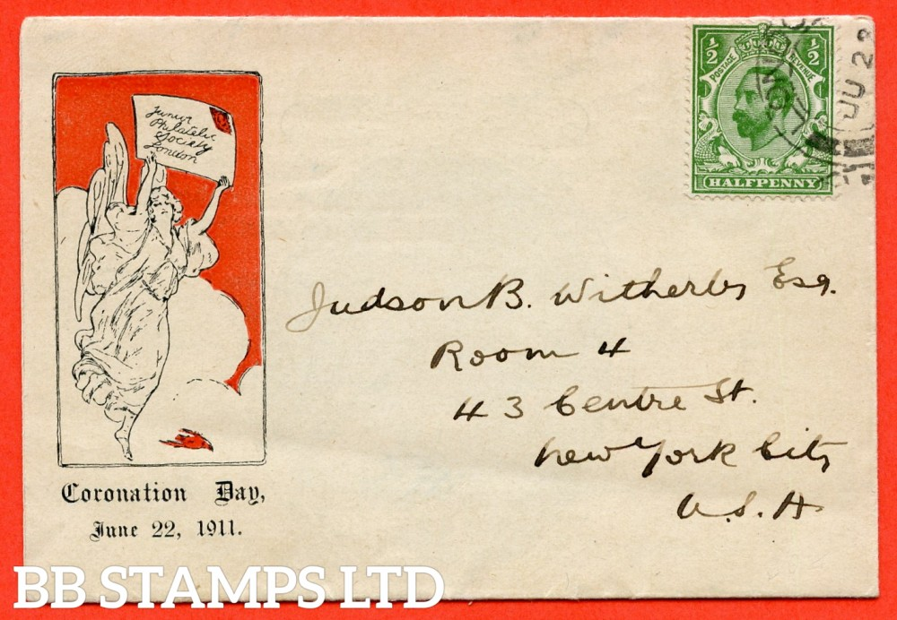 "SG. 322. ½d green. Junior Philatelic Society. A very fine FIRST DAY COVER cancelled by a "" 22nd June 1911 LONDON "" CDS."