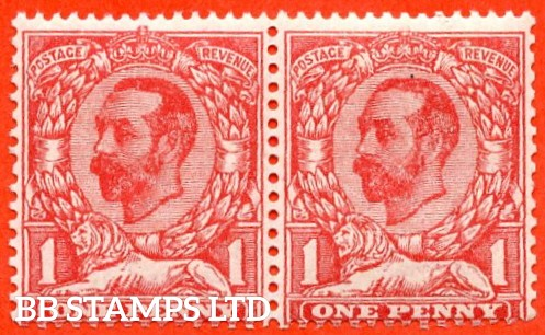 SG. 328a. N7 (5) f. 1d pale carmine Die A. A super UNMOUNTED MINT horizontal pair with the right hand stamp clearly showing the RARE variety ' No Cross On Crown '. A very RARE and underrated stamp.