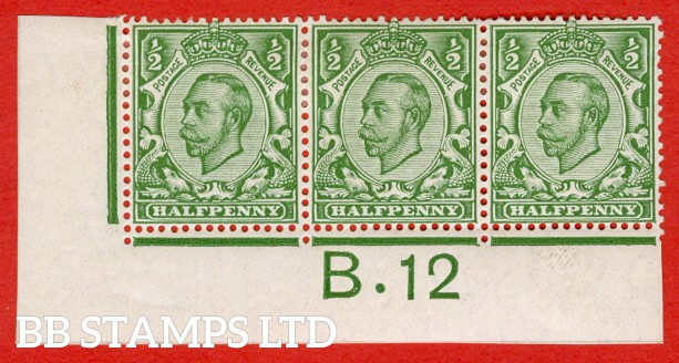 "SG. 346 N6 (1) ½d Green Die 2.  A very fine mounted mint "" control B.12 imperf  "" strip of 3. A VERY RARE strip from perf type 2."