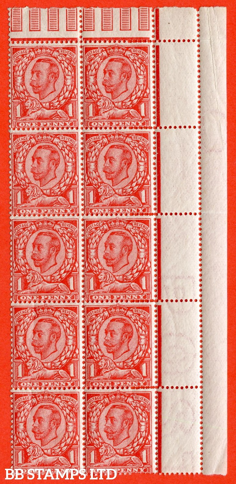 "SG. 341 a. N11 (2) b. 1d bright scarlet. Die 2. A fine UNMOUNTED MINT right hand marginal block of 10 with the top left stamp clearly showing the "" NO CROSS ON CROWN variety. Also a super "" MIS - PERF "" error."