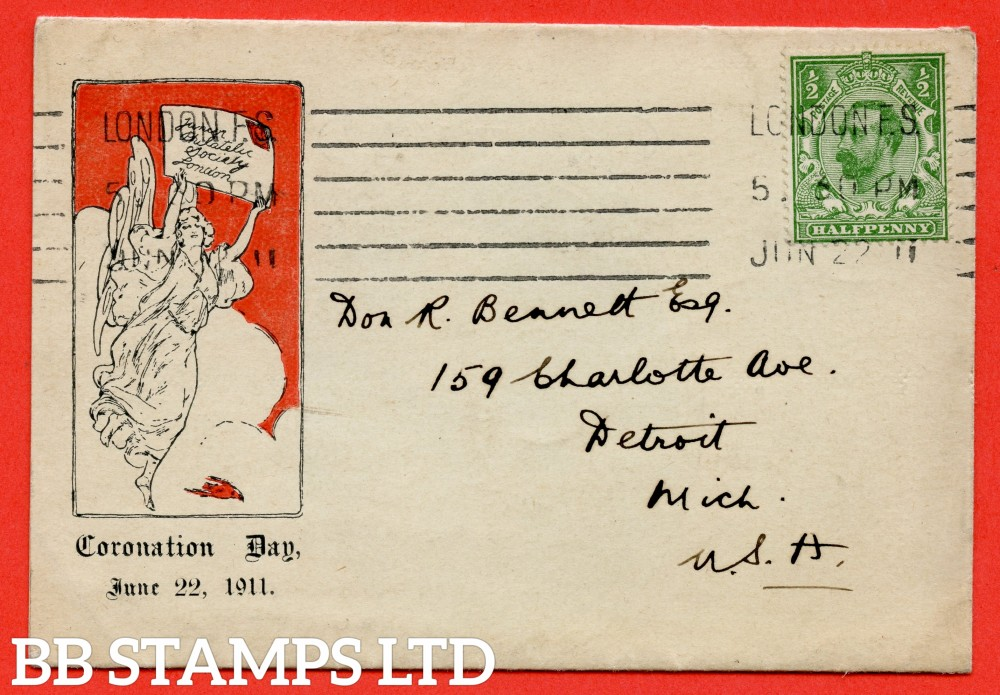 "SG. 322. ½d green. Junior Philatelic Society. A very fine FIRST DAY COVER cancelled by a "" 22nd June 1911 LONDON "" Machine cancel."