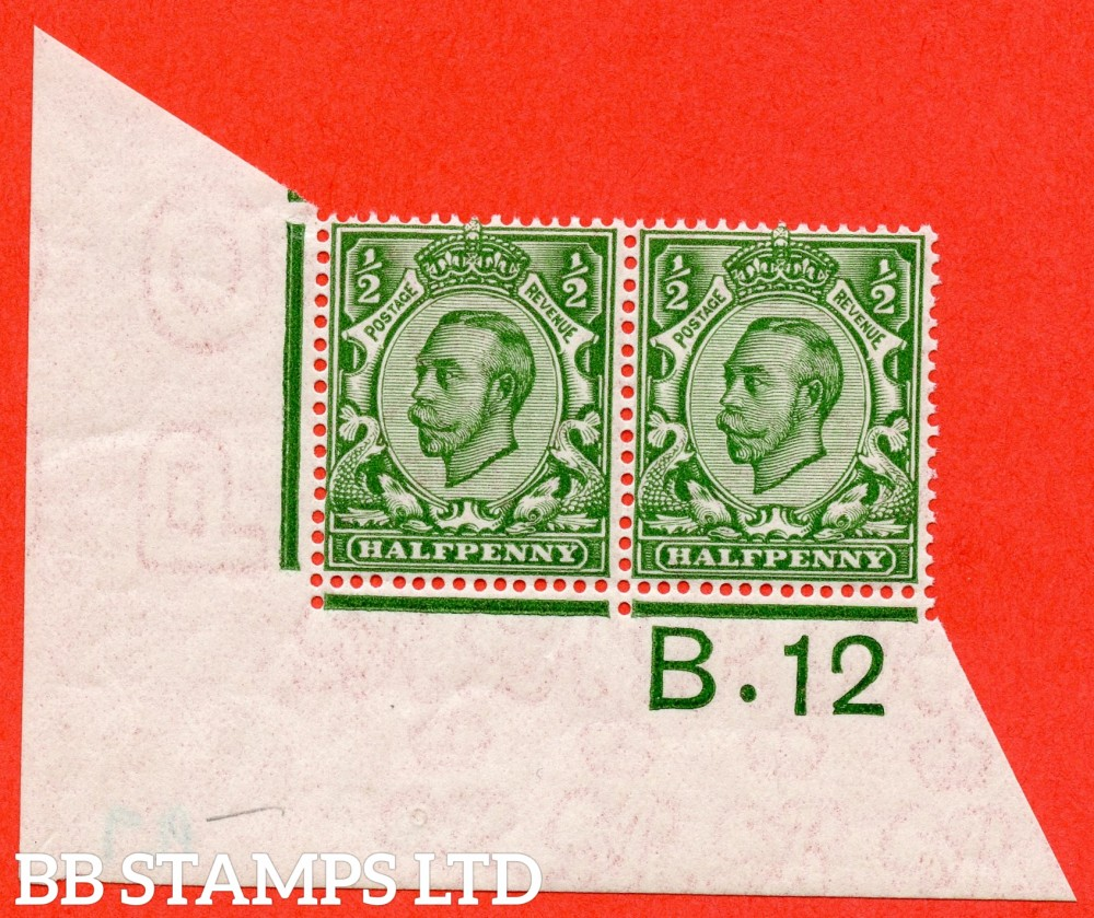 """SG. 346. N6 (1) ½d Green. Die 2.  A very fine UNMOUNTED MINT control """" B.12 imperf  """" horizontal pair. A VERY RARE multiple from the Somerset House printing. Perf type 2. Ex Beaumont 1965."""