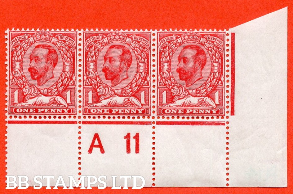 """SG. N8 ( UNLISTED ). 1d bright carmine red. Die 1B. A super UNMOUNTED MINT control """" A11 perf """" strip of 3 from plate 14 of this known George V Downey head shade variety complete with Hendon certificate."""