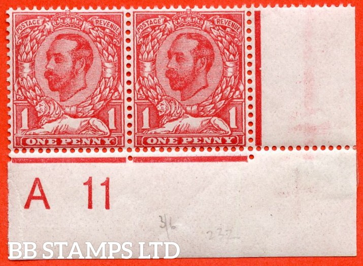 """SG. 328. N7 (5) k. 1d pale carmine Die 1A. A very fine UNMOUNTED MINT control """" A11 wide - imperf """" horizontal pair with the listed variety """" pale area by lion's paw. Plate 13b. Row 20/11."""