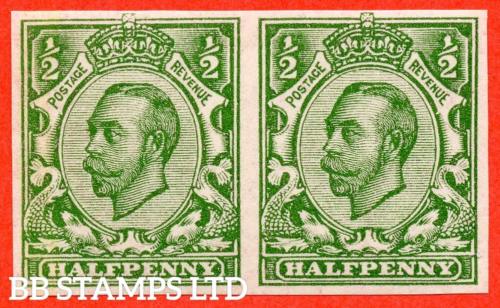 """SG. 346 b. N6 (1) f. ½d green """" IMPERF """". A fine UNMOUNTED MINT horizontal pair of this scarcer Downey variety."""