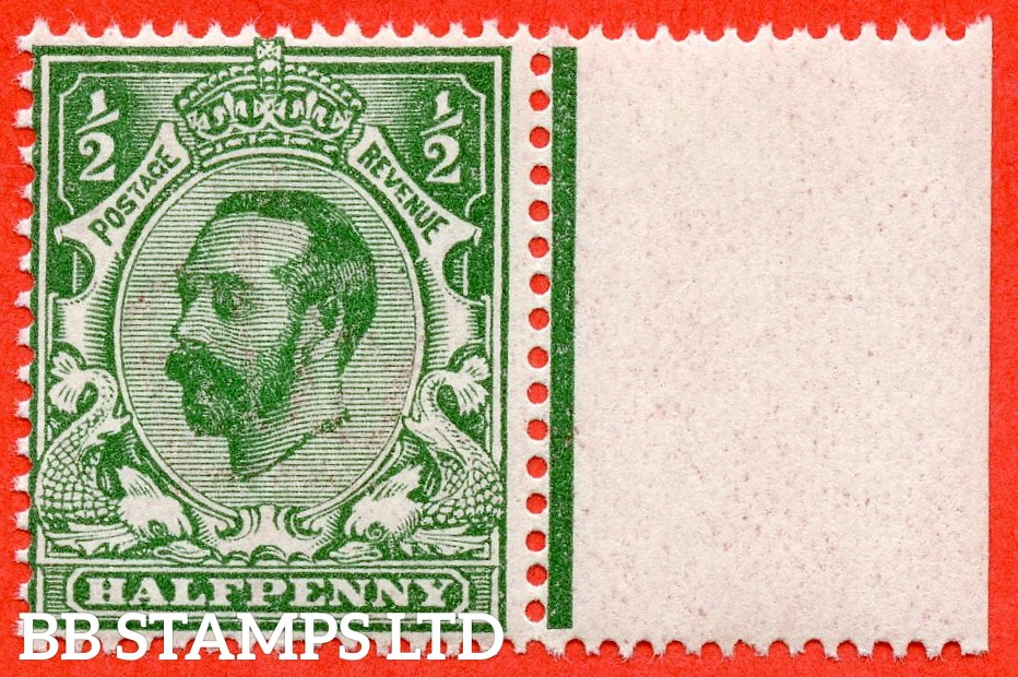 SG. 323. N1 (4). ½d Bluish Green. Die 1A. A super UNMOUNTED MINT right hand marginal example of this scarcer Downey shade complete with RPS certificate.
