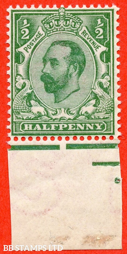 SG. 323. N1 (4). ½d Bluish Green. Die 1A. A super UNMOUNTED MINT bottom marginal example of this scarcer Downey shade complete with RPS certificate.