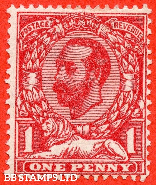 SG. 328a variety N7 (1) f. 1d Carmine red. Die 1A. A mounted mint example of this George V variety clearly showing the RARE variety ' No Cross On Crown '. Complete with RPS certificate.