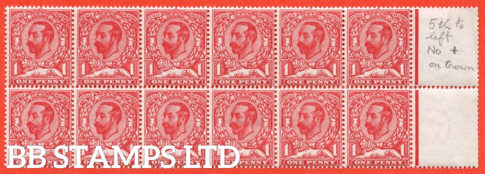 SG. 328a. N7 (1) f. 1d carmine red. Die 1A. A super UNMOUNTED MINT right hand marginal block of 12 with stamp 2 clearly showing the RARE variety ' No Cross On Crown '. A very RARE and underrated stamp.
