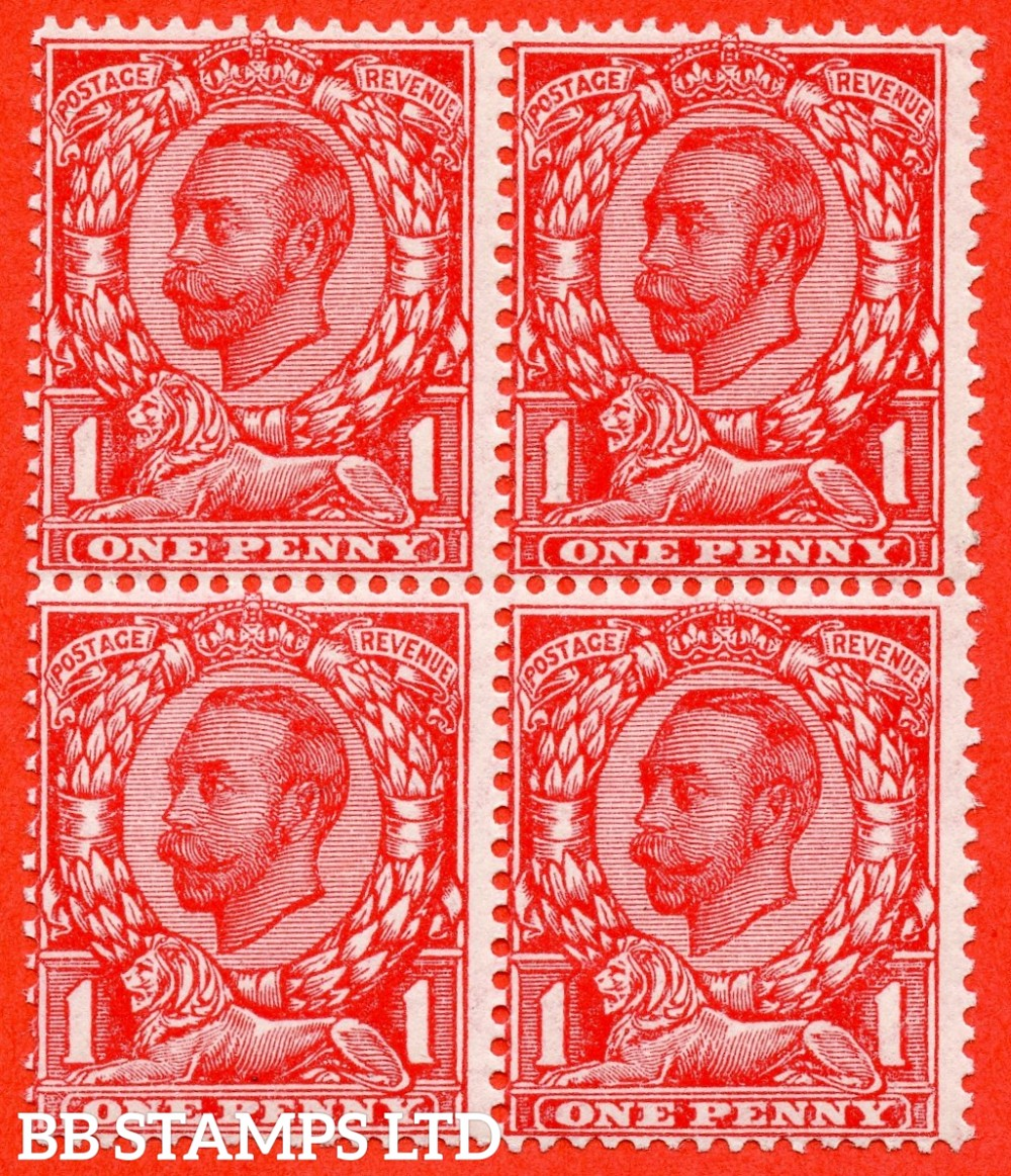 SG. 350 a N13 (1) f. 1d Scarlet. NO CROSS ON CROWN. A very fine UNMOUNTED MINT block of 4 with the lower right hand stamp clearly showing this much scarcer Downey variety.