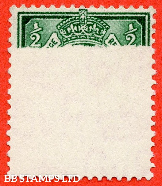 "SG. 439. N47 (2) c. ½d bluish green. A very fine UNMOUNTED MINT example with a SUPERB printing "" ERROR "" leaving 75 % of the stamp totally unprinted. A very visual and nice little error."
