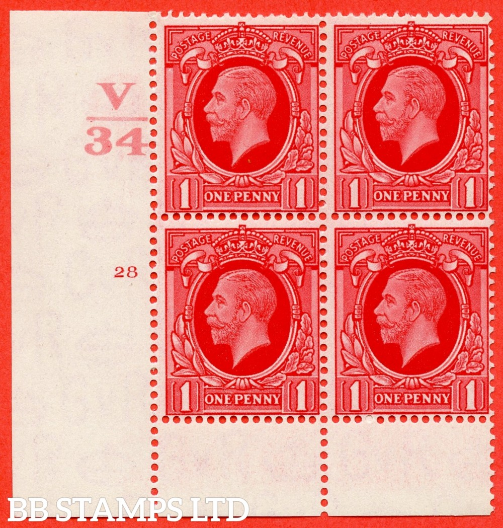 """SG. N49 1d. Scarlet. A superb UNMOUNTED MINT """" Control V34 cylinder 28 no dot """" control block of 4 with perf type 6 (I/P)."""