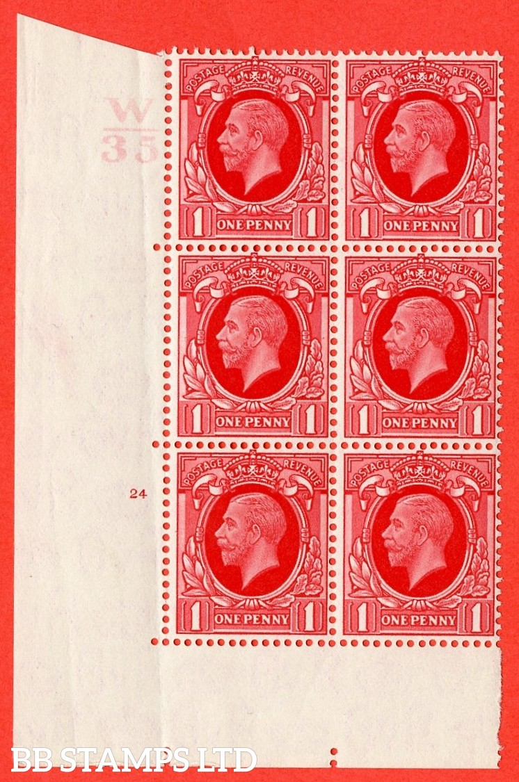 "SG. N49 1d. Scarlet. A fine mounted mint "" Control W34 cylinder 24 no dot "" control block of 6 with perf type 5 (E/I)."