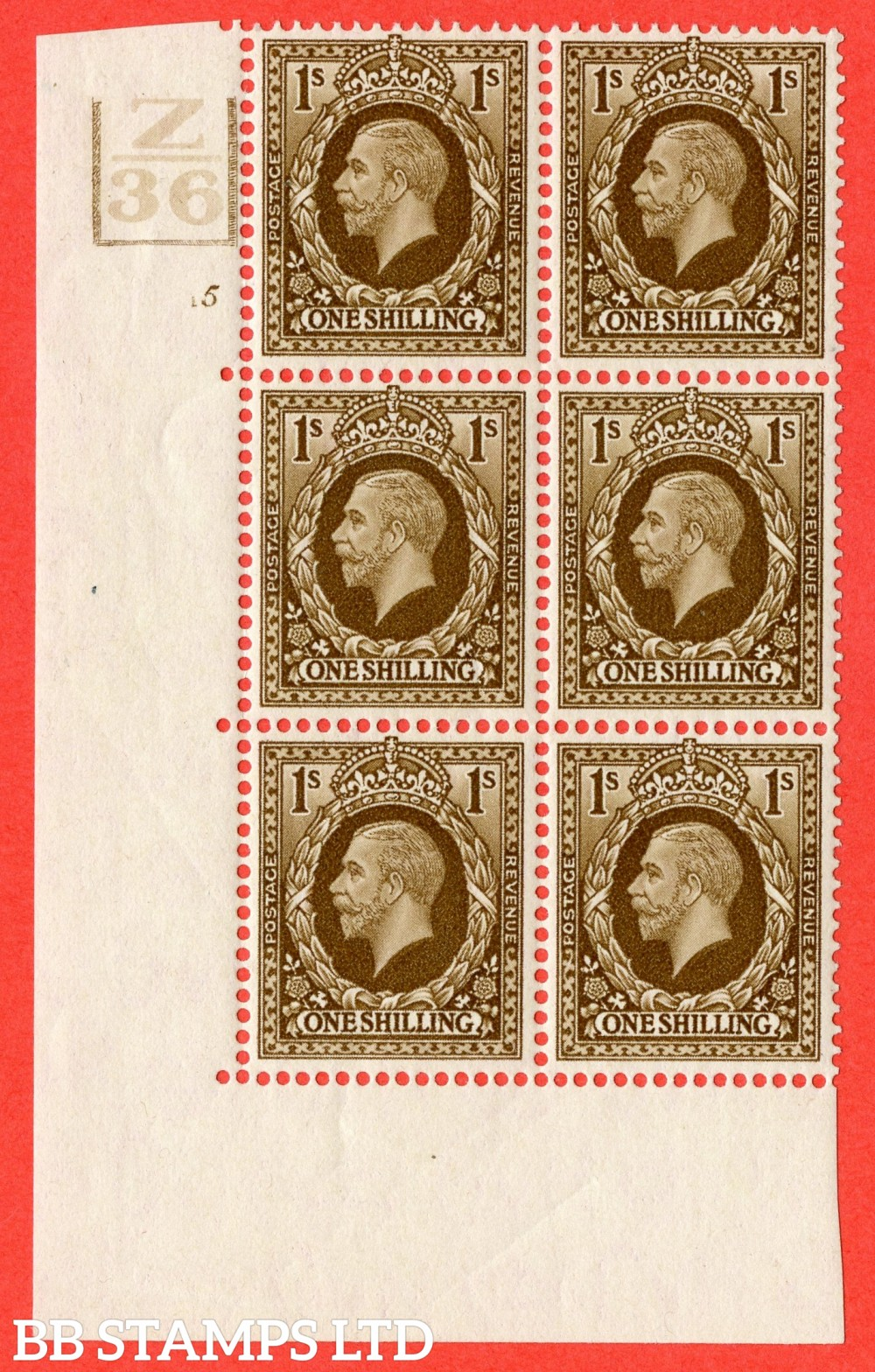 SG. 449. N62. 1/- Bistre-Brown. A fine mint block of 6. Control Z36. 3 Bars. Cylinder 5 no dot. Perf type 5 E/I.