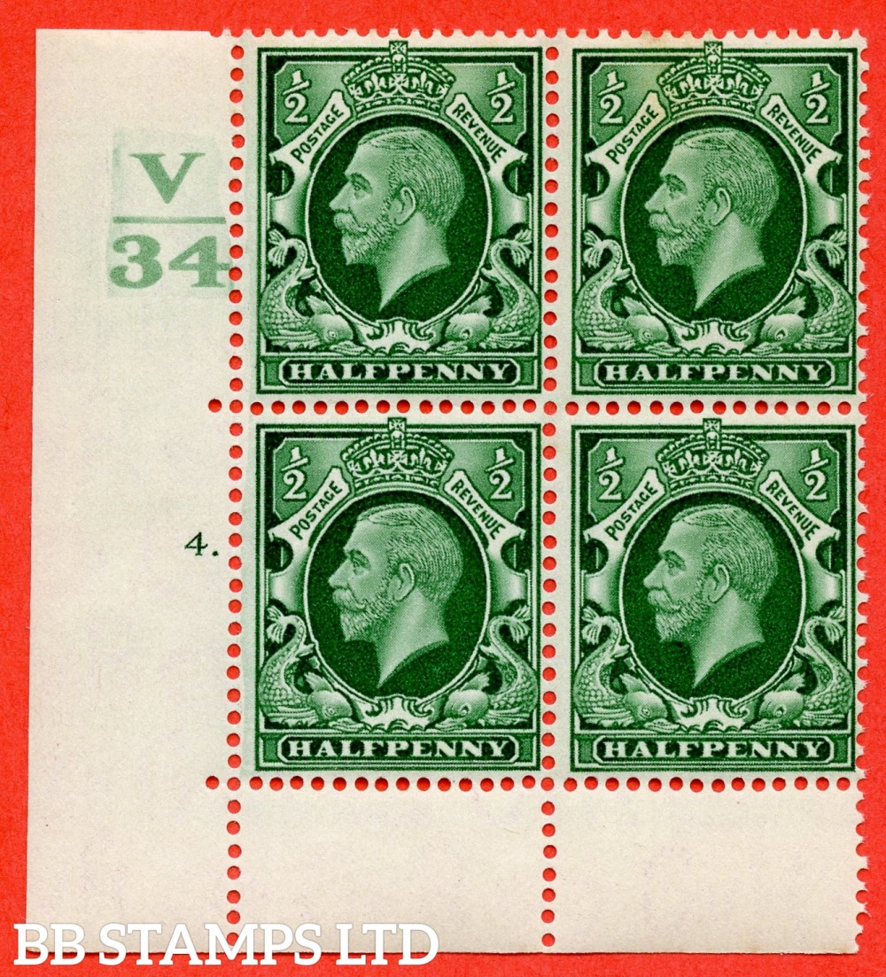 "SG. 439 variety N46 ½d. Green. A superb UNMOUNTED MINT "" Control V34 cylinder 4 dot "" control block of 6 with perf type 6B (E/P)."