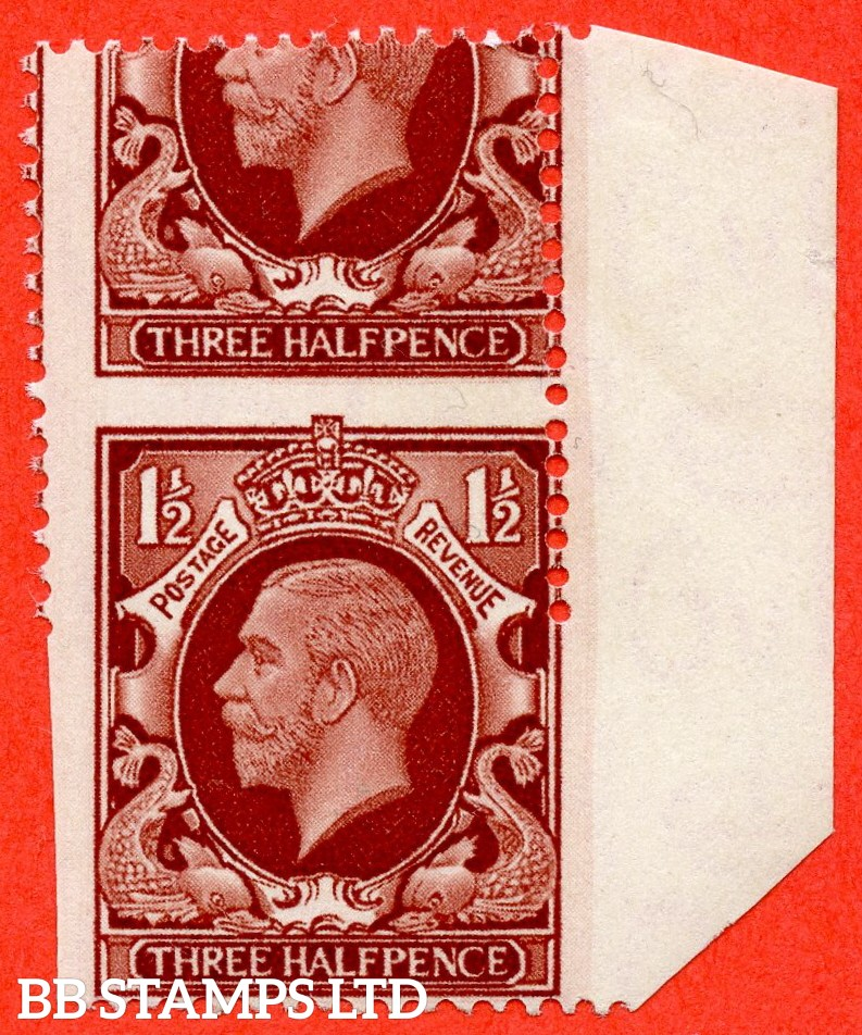 "SG. 441 variety N51a. 1½d Large Format. A super lightly mounted mint right hand marginal vertical pair with a lovely "" MIS - PERF "" error. Leaving the bottom stamp partially imperf."