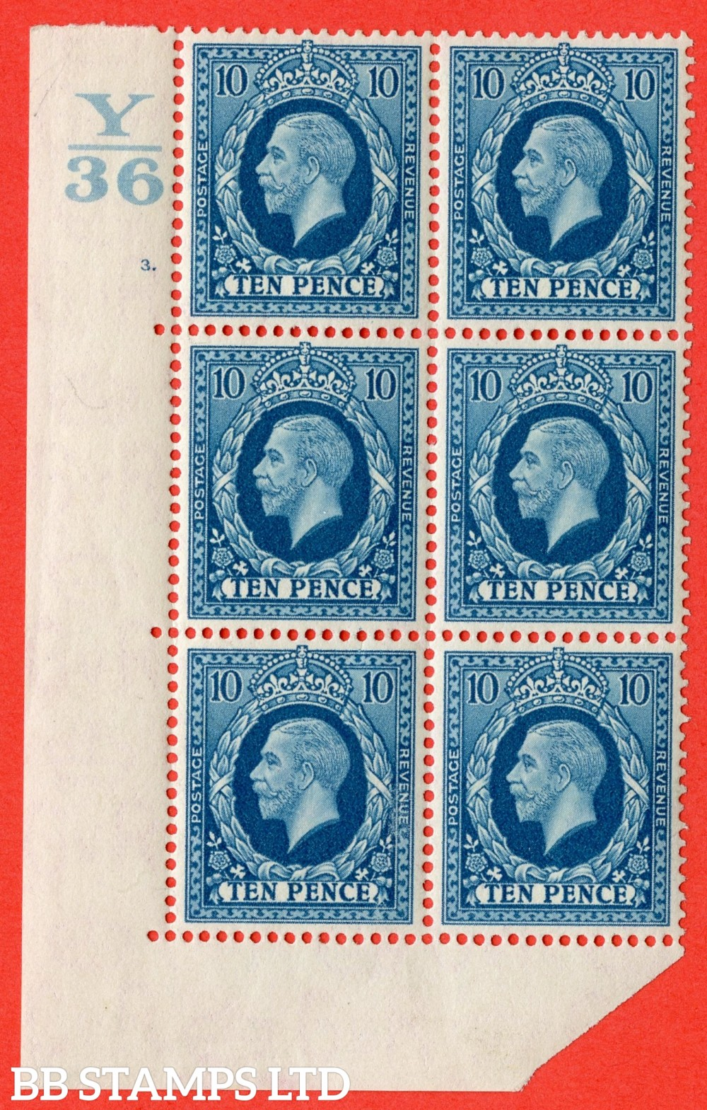 SG. 448. N61. 10d Turquoise-Blue. A very fine mint block of 6. Control Y36. Cylinder 3 dot perf type 5 E/I.