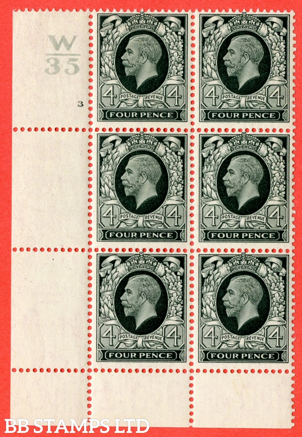 SG. 445. N58. 4d Grey-Green. A fine mint block of 6. Control W35. Cylinder 3 dot perf type 2A P/P. Cylinder 3 perf type 2A (P/P) has not dot, presumably ommitted in error.