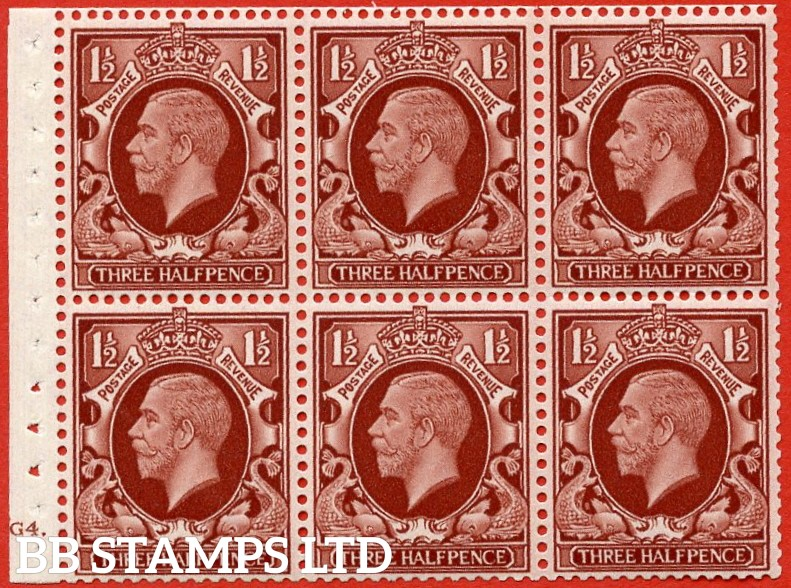 "SG. 441. NB24. 1½d red brown. "" INTERMEDIATE FORMAT "". A fine UNMOUNTED MINT cylinder "" G4 dot "" booklet pane of 6 with excellent perfs. Perf type B4A(I)."