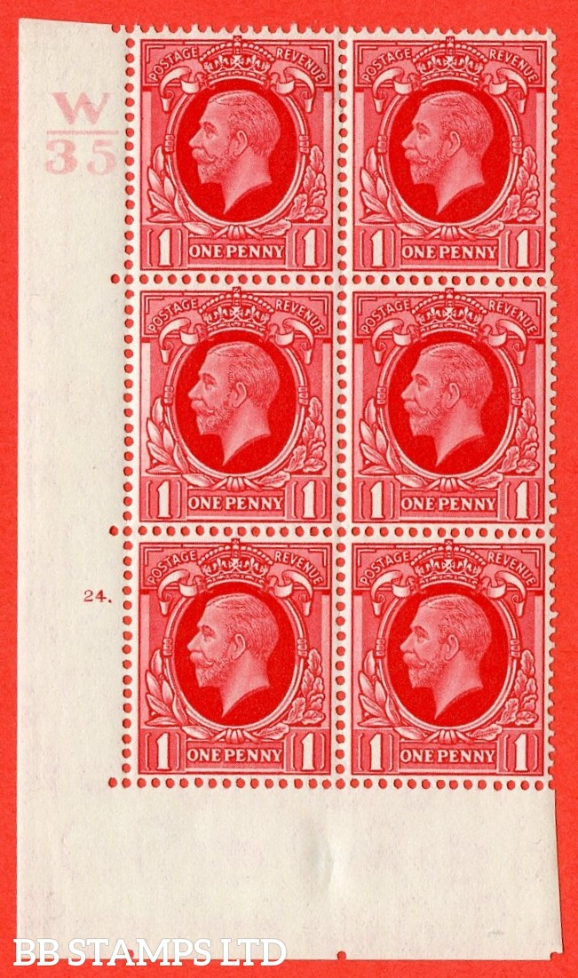 "SG. N49 1d. Scarlet. A fine mounted mint "" Control W34 cylinder 24 dot "" control block of 6 with perf type 5 (E/I)."