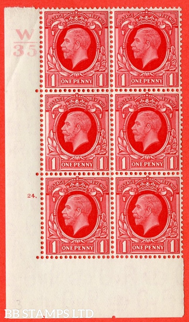 """SG. N49 1d. Scarlet. A fine mounted mint """" Control W34 cylinder 24 dot """" control block of 6 with perf type 5 (E/I)."""