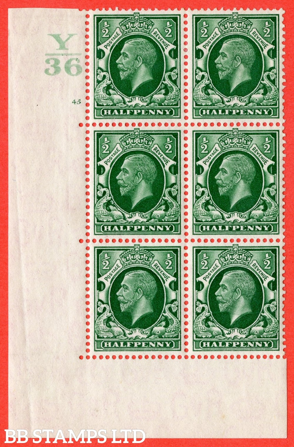 """SG. N47 ½d. Green. A fine mounted mint """" Control Y36 cylinder 45 no dot """" control block of 6 with perf type 5 (E/I)."""