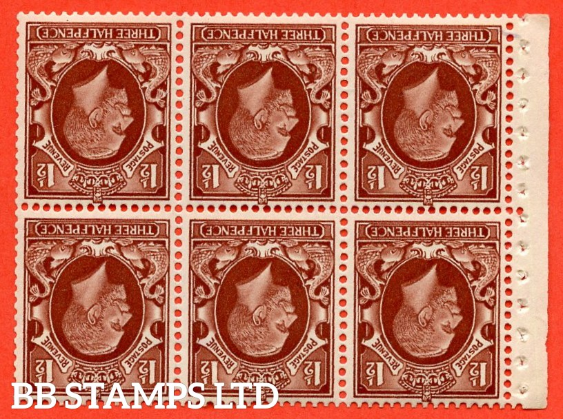 "SG. 441 wi. NB26 a. 1½d red brown. "" SMALL FORMAT "". INVERTED WATERMARK. A fine UNMOUNTED MINT booklet pane of 6. Perf type E."