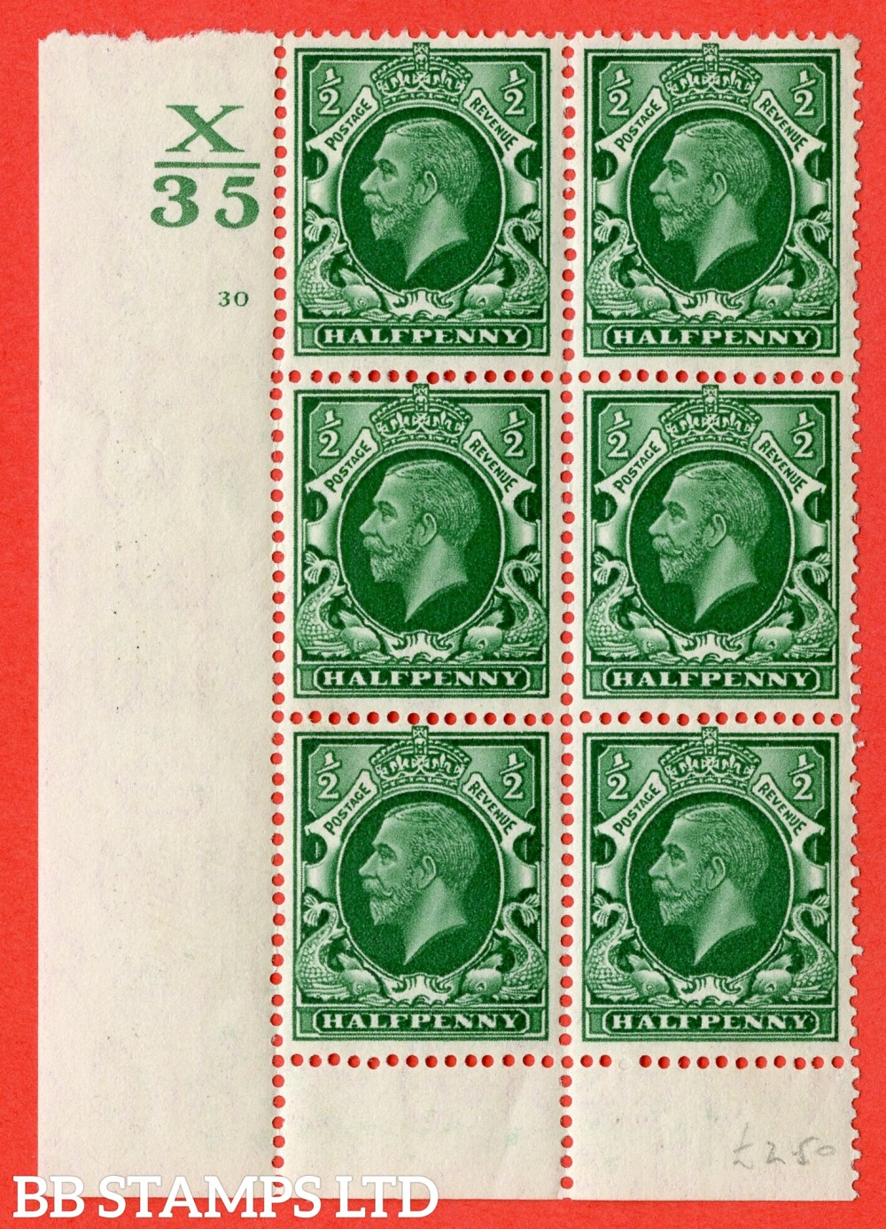 "SG. 439 variety N47 ½d. Green. A superb UNMOUNTED MINT "" Control X35 cylinder 30 no dot "" control block of 6 with perf type 6 (I/P)."