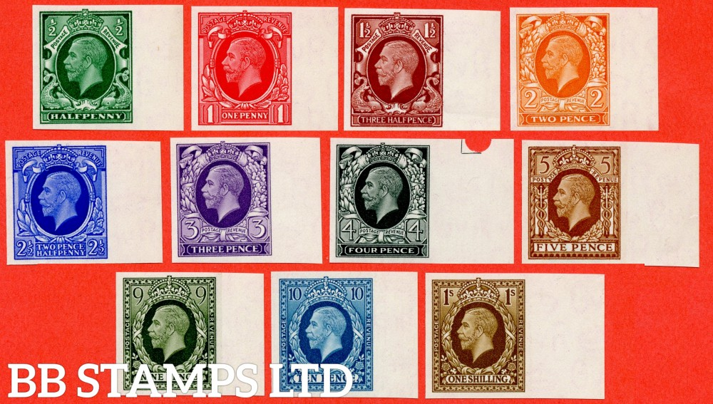 SG. 439 - 449. N47 - N62. ½d - 1/-. IMPRIMATUR. A superb UNMOUNTED MINT right hand marginal complete set of 11 all backstamped ' BPMA '. A RARE set of George V.