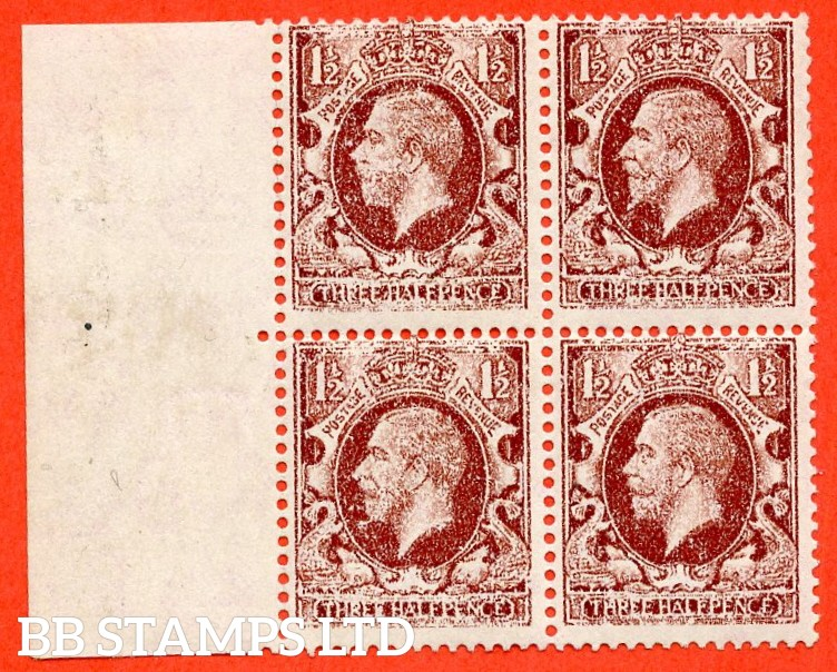 "SG. 441. N53. 1½d red brown. "" SMALL FORMAT. A fine lightly mounted mint left hand marginal block of 4 with a stunning DRY PRINT ERROR."