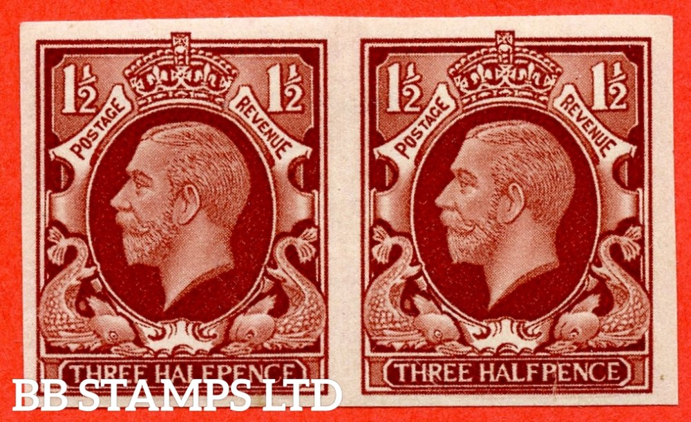 SG. 441a. Variety N52a. 1934 Photogravure 1½d Red - Brown. IMPERF PAIR. A very fine lightly mounted mint pair of this scarce GV ERROR complete with Brandon certificate.