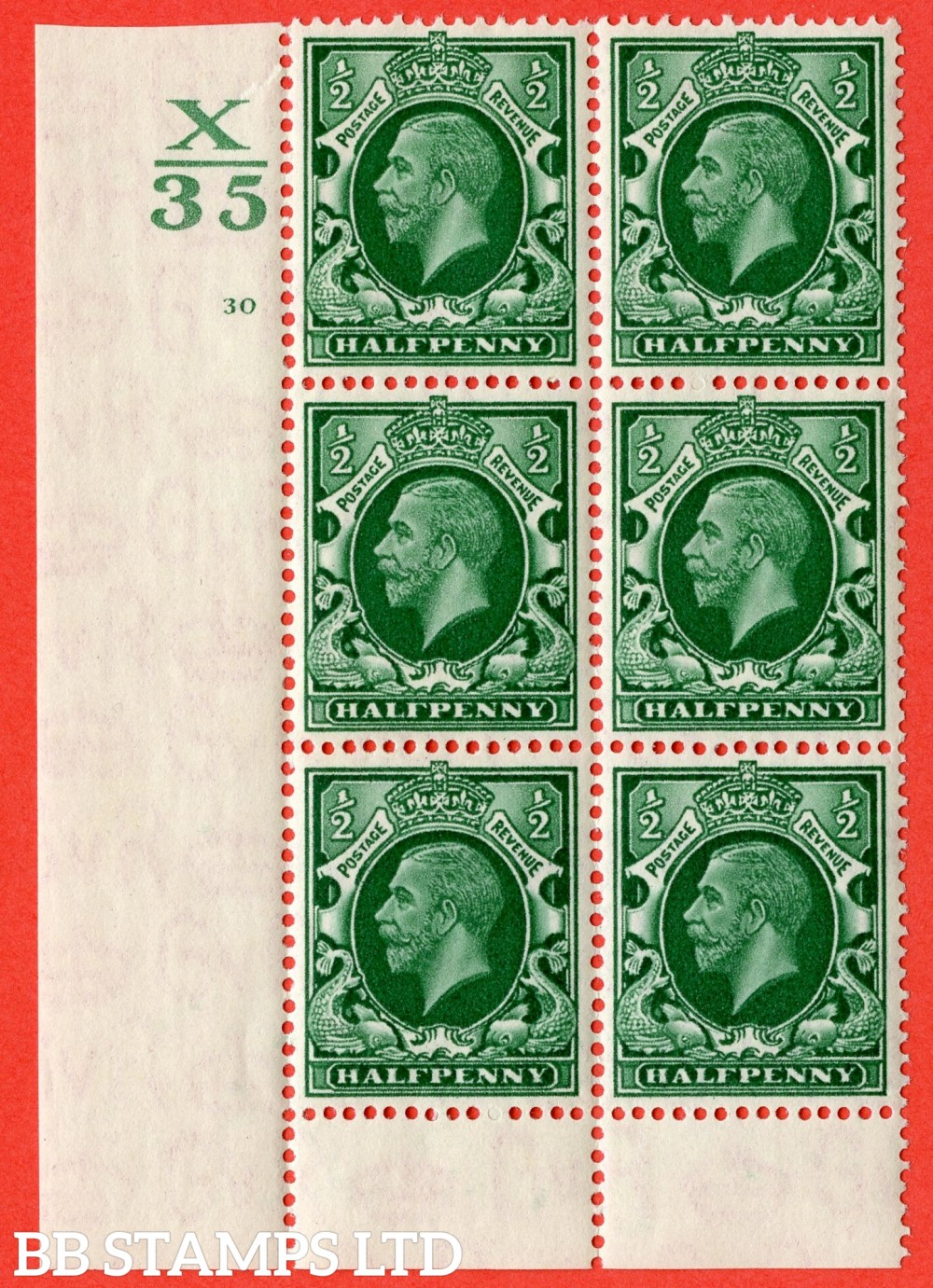 "SG. 439 variety N47 ½d. Green. A fine lightly mounted mint "" Control X35 cylinder 30 no dot "" control block of 6 with perf type 6 (I/P)."