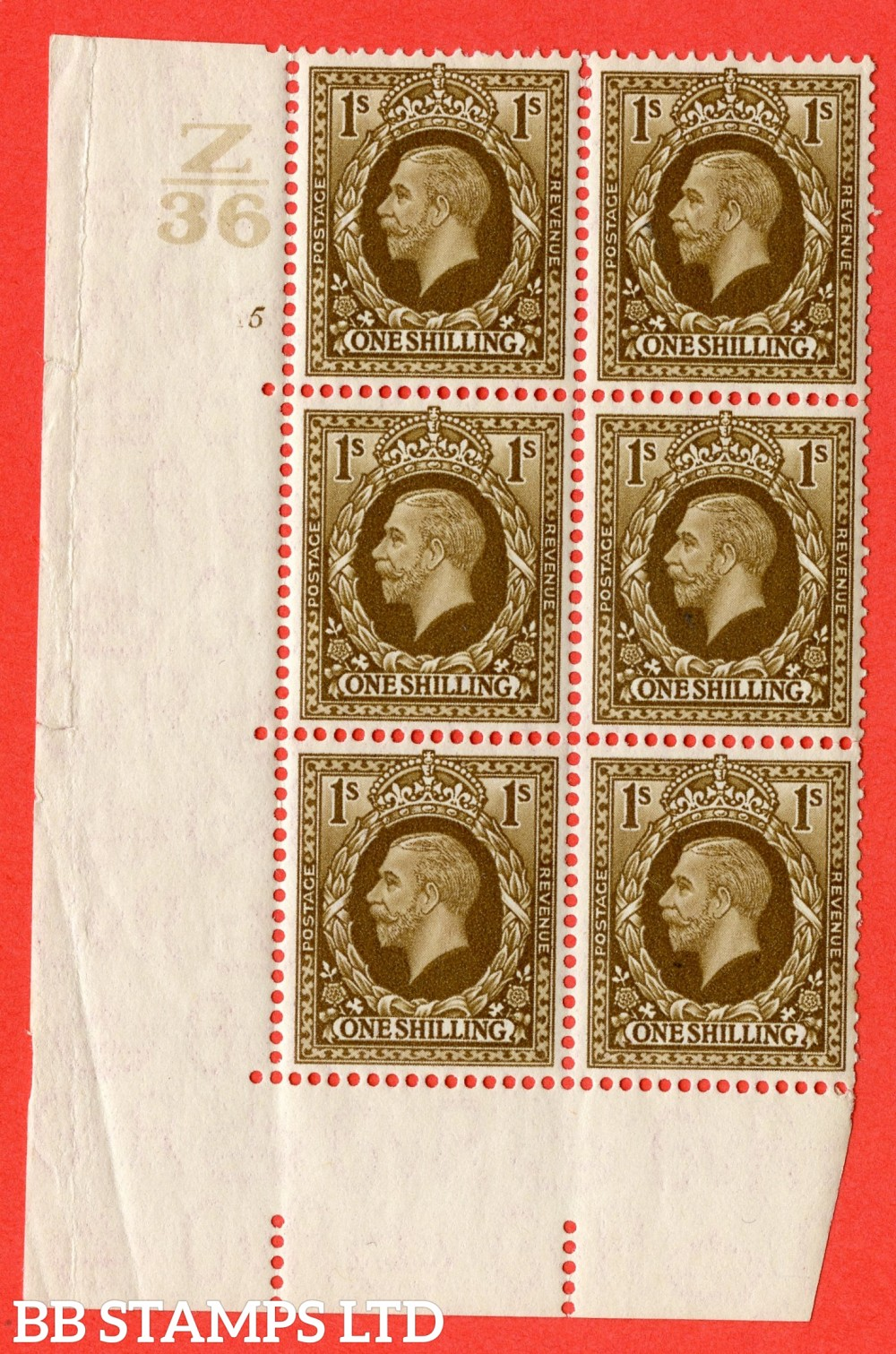 SG. 449. N62. 1/- Bistre-Brown. A superb UNMOUNTED MINT block of 6. Control Z36. Cylinder 5 no dot. Perf type 5 E/I.