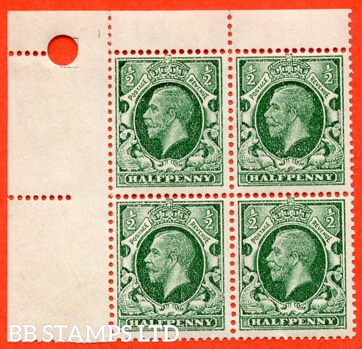 "SG. 439. N47 (1). ½d green. Small Format. A very fine UNMOUNTED MINT top left hand corner block of 4 with a superb "" DRY PRINT ERROR ""."