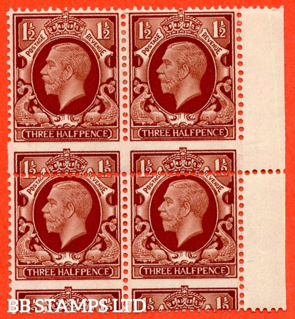 "SG. 441. N51. 1½d red brown. "" LARGE FORMAT. A fine mint right hand marginal block of 4 with a super MIS - PERF ERROR."