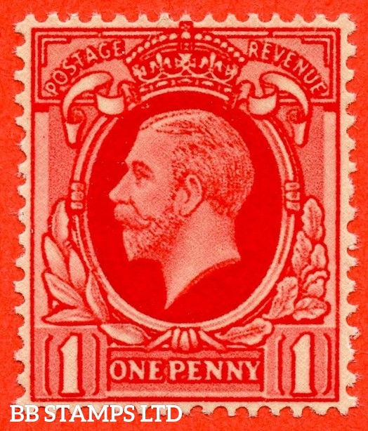 "SG. 440 b. N48 (1) b. 1d scarlet. "" PRINTED ON THE GUMMED SIDE "". A superb UNMOUNTED MINT example of this very difficult George V variety."