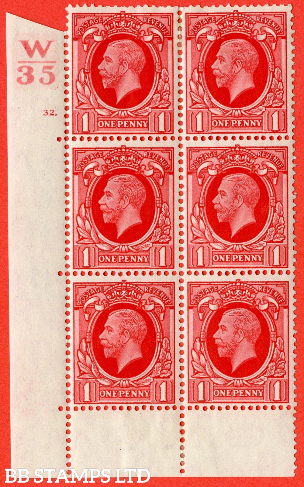 "SG. N50 1d. Scarlet. A fine mounted mint "" Control W35 cylinder 32 dot "" control block of 6 with perf type 6B (E/P)."