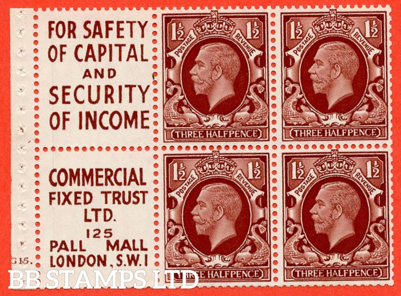 "SG. 441 e. NB25 (3). 1½d red - brown. INTERMEDIATE FORMAT. A superb UNMOUNTED MINT cylinder "" G15 dot "" booklet pane. Perf type "" B4A(I) "". A scarce and difficult to find George V item."