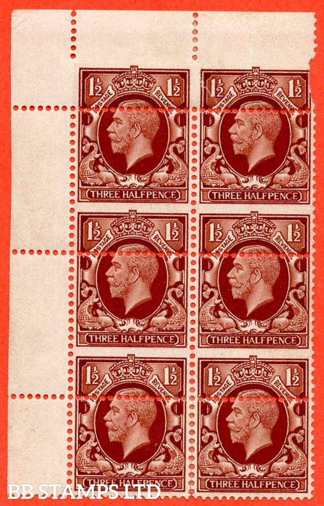 "SG. 441. N51. 1½d red brown. "" LARGE FORMAT. A fine mint block of 6 with a super MIS - PERF ERROR."