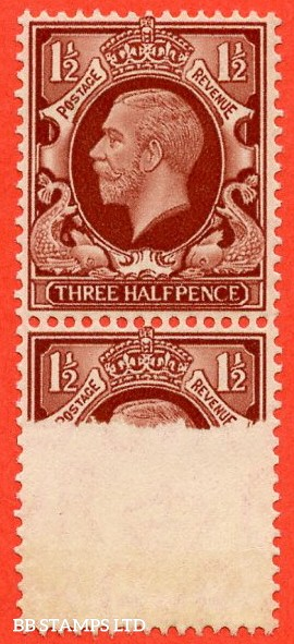 "SG. 441. N51. 1½d red brown. "" LARGE FORMAT. A fine lightly mounted mint vertical pair with the lower stamp having a super PRINTING ERROR leaving two thirds of the printing missing.."