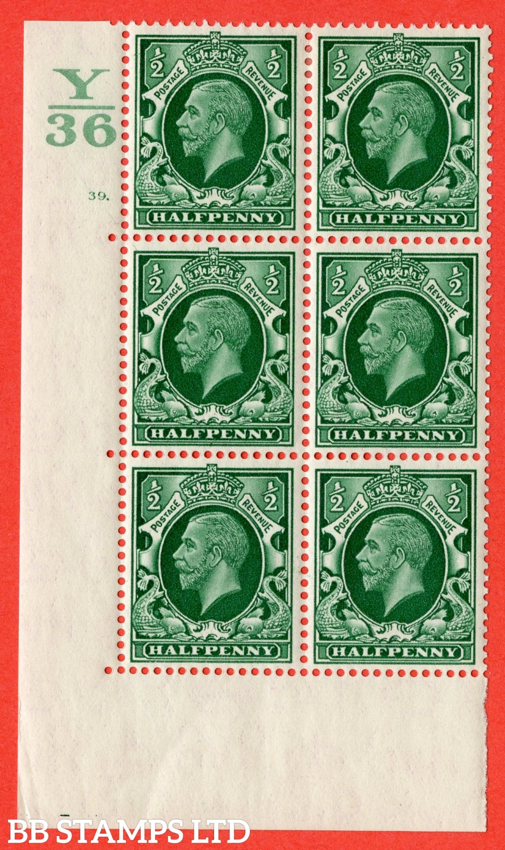 "SG. 439 variety N47 ½d. Green. A superb UNMOUNTED MINT "" Control Y36 cylinder 39 dot "" control block of 6 with perf type 5 (E/I)."