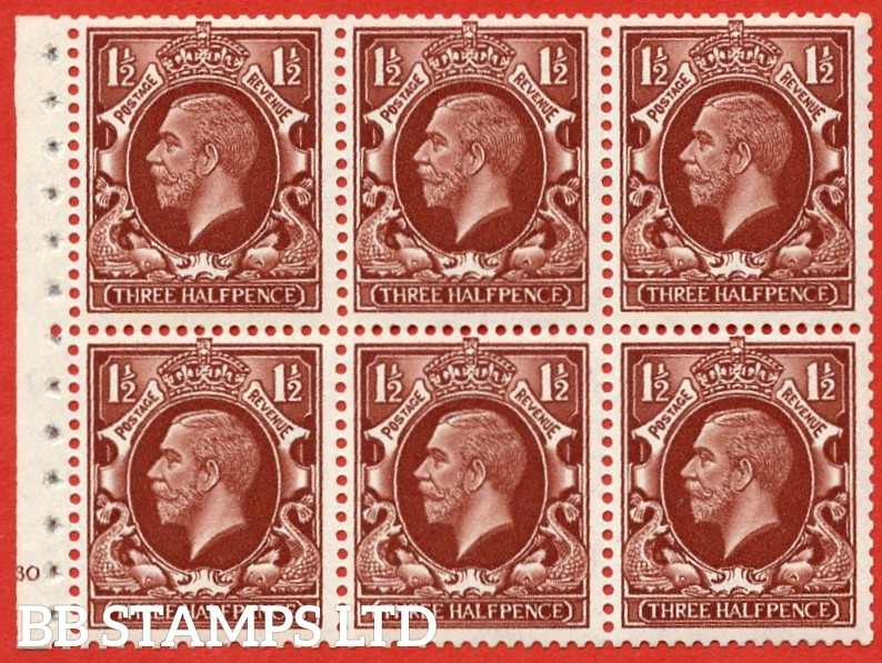 "SG. 441. NB26. 1½d red brown. "" SMALL FORMAT. A fine UNMOUNTED MINT cylinder "" G30 no dot "" booklet pane of 6 with excellent perfs. Perf type B4(E)."